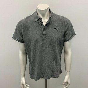 Puma Polo Shirt Men's Large Gray Short Sleeve Cott